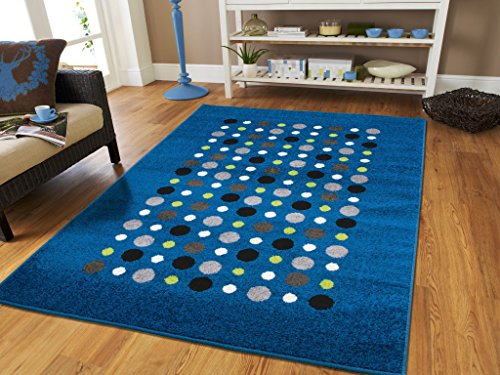 (New Fashion Luxury Blue Floor Rugs for Living Room Large 8x11 Rug 8x10 Clearance Under 100 Prime Cheap Rug Sets Dots Rugs Blues Polka Dot Rugs Carpets for Bedrooms, 8x11)
