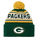 OuterStuff NFL Youth 8-20 Cuffed Knit Pom Hat, Green Bay Packers, One Size