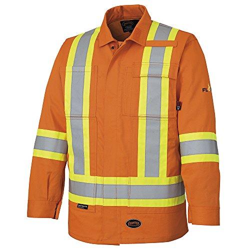 Pioneer V2550150-XL Flame Resistant Reflective Safety Jacket, 100% Cotton, Multipocketed, Orange-XL