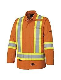 Pioneer V2550150-L Flame Resistant Reflective Safety Jacket, 100% Cotton, Multipocketed, Orange-Large