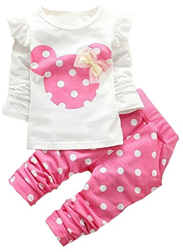 - Baby Girls' 2 Pieces Polka Dot Top Leggings Clothing Set Outfits(80,Pink)