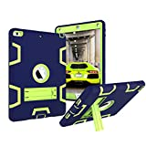 Walle Shop New iPad 9.7 2017 case,Heavy Duty Shockproof Hard PC+Silicone Hybrid High Impact Resistant Armor Defender Full Body Protective Cover for Apple iPad 9.7 2017 Released (navy+green)