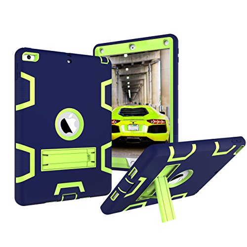New iPad 2017 9.7 Case, Fisel Three Layer PC & Silicon High Impact Hybrid Drop Proof Armour Defensive Full Body Protective Case With Kickstand for All-New iPad 9.7 Inch 2017 Model Tablet (Otterbox Armour Skin)