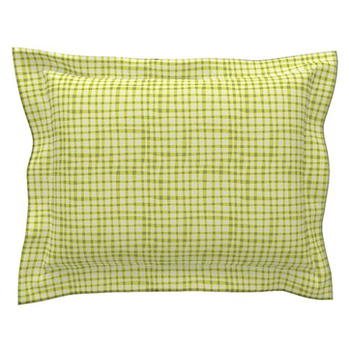 Roostery Bird Euro Flanged Pillow Sham Nesting Green Gingham by Bzbdesigner Natural Cotton Sateen Made