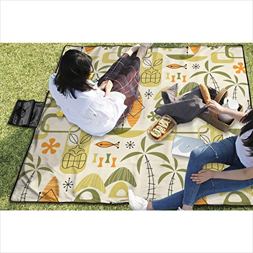 Suniy Picnic Blanket Hawaiian Village Waterproof Extra Large Outdoor Mat Camping Or Travel Easy Carry Compact Tote Bag ()