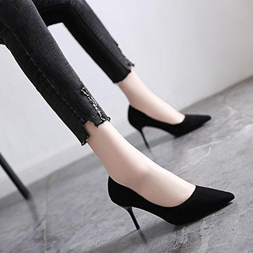 Jqdyl High Heels 2018 Fruuml;hling neue High Heels weibliche Spitze mit professionellen Schuhe wilde Schuhe mit Absauml;tzen  37|Black 7cm