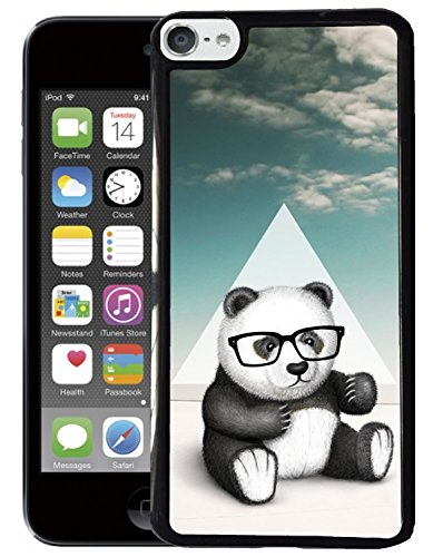[TeleSkins] - iPod Touch 5 Case / iPod Touch 6 Case - Hipster Baby Panda Geek Glass - Ultra Durable Slim Fit, Protective Soft Plastic Snap On Back Cover. (Touch Hipster)