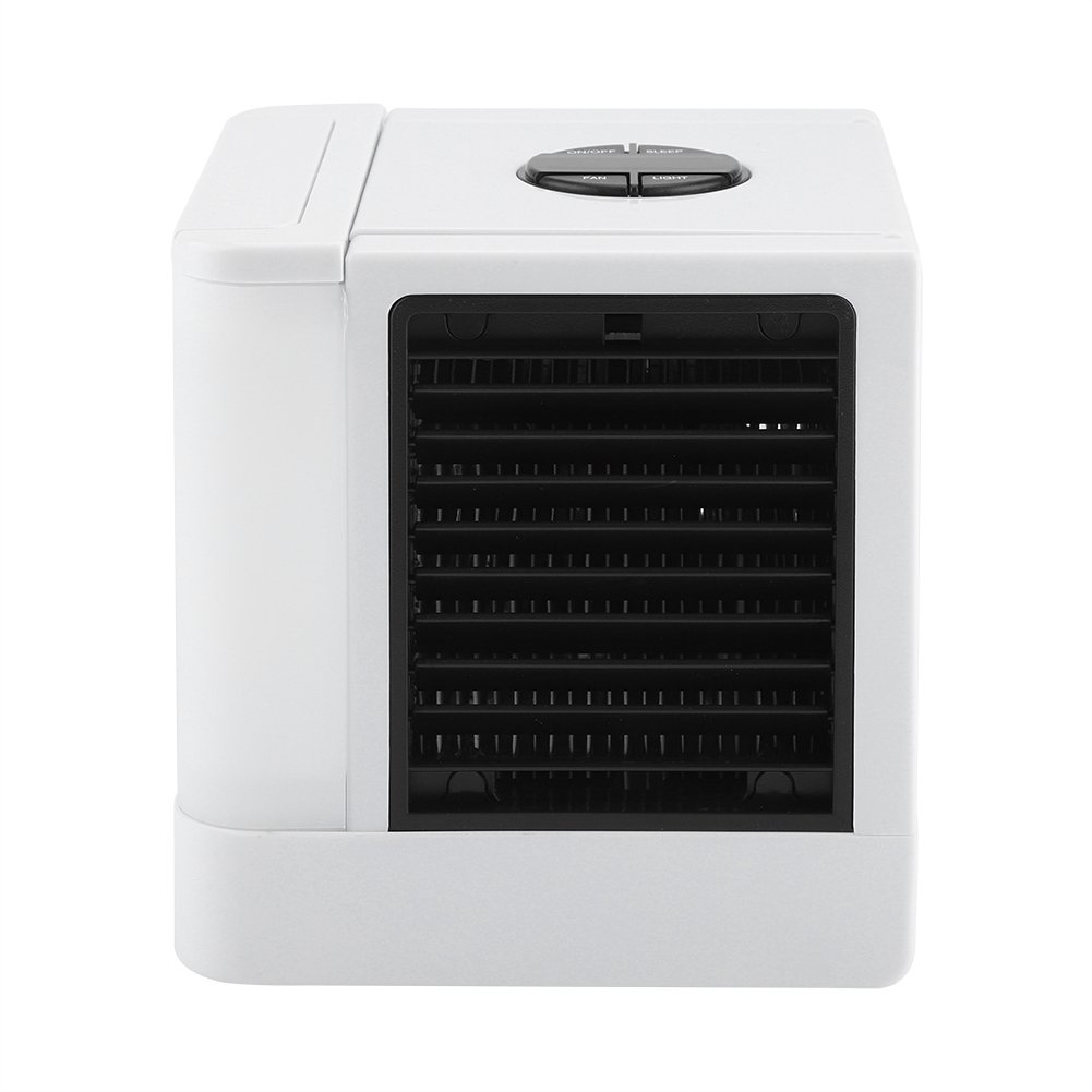 Portable Air Conditioner Humidifier Desktop Table Fan with 4 Colors LED Night Light
