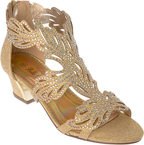 lime03 Women's Evening Sandal Rhinestone Gold Dress-Shoes Size 5
