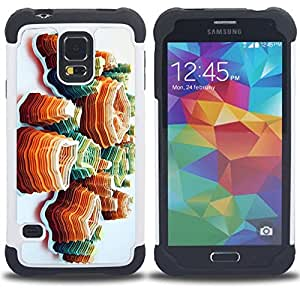 - polygon art island orange mountains - - Doble capa caja de la armadura Defender FOR Samsung Galaxy S5 I9600 G9009 G9008V RetroCandy