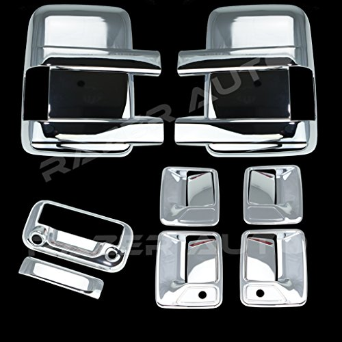 Razer Auto Triple Chrome Plated Mirror, 4 Door Handle with Passenger Keyhole, Tailgate Handle with Camera Hole Cover for 08-15 Ford F250+F350+F450 Super Duty