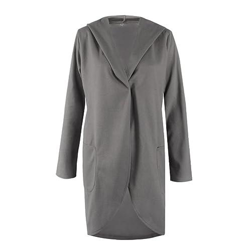 KOROWA Sudadera con capucha ocasional de las mangas largas de Automn de las mujeres Abrigos irregula...