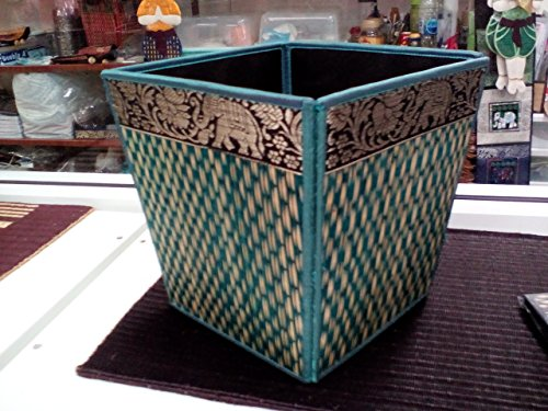 Waste Material Costumes (Ayutthaya Shop Handmade Thai Woven Straw Reed Wicker Square Waste Basket with Silk Elephant Design (blue))