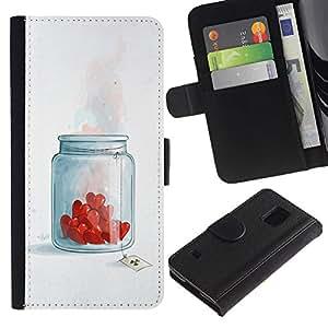 LASTONE PHONE CASE / Lujo Billetera de Cuero Caso del tirón Titular de la tarjeta Flip Carcasa Funda para Samsung Galaxy S5 V SM-G900 / Heart Brake Love Toxic Chemicals Romance