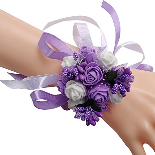 Steen Pack of 1 - Bridal Bridesmaid ribbon Wrist flower Wrist Corsage - foam flowers wedding (purple)