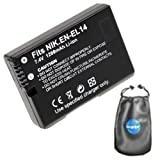Amsahr B-ENEL14 Digital Replacement Camera and Camcorder Battery for Nikon ENEL14, DSLR D3100, 3200 with Lens Accessories Pouch (Gray)