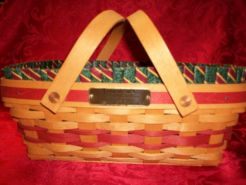 Longaberger 1996 Holiday Cheer Basket with Imperial Stripe Liner & Plastic Protector