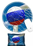 Luxlady Mouse Wrist Rest and Round Mousepad Set, 2pc IMAGE: 34474001 Russia flag and soccer ball football in goal net
