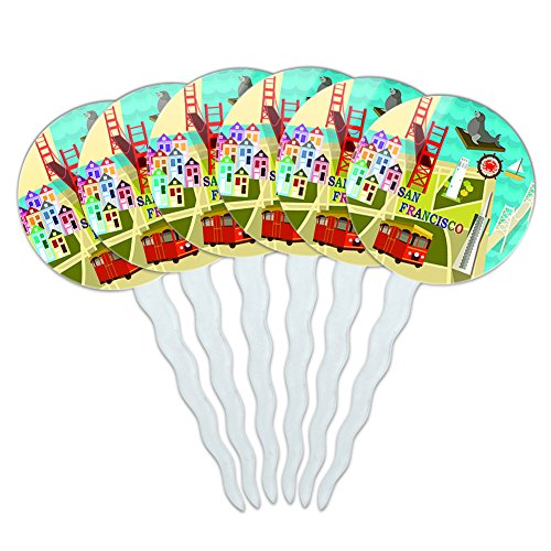 Set Of 6 Cupcake Picks Toppers Decoration Places And Things   San Francisco Golden Gate Bridge Bay Pier 39