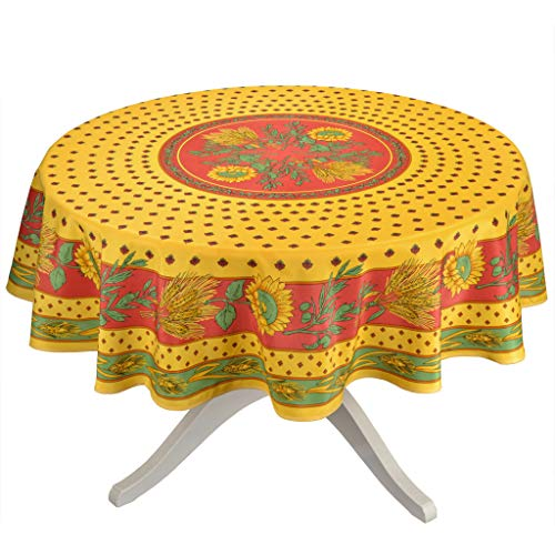 Tournesol Red/Yellow French Provencal Tablecloth - Round