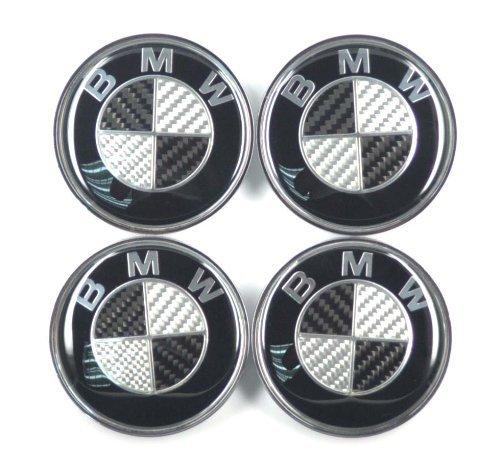 BMW Black Silver Carbon Fiber Emblem Badge Logo Wheel Center Hubs Caps 68mm 2.68 inch 4pcs