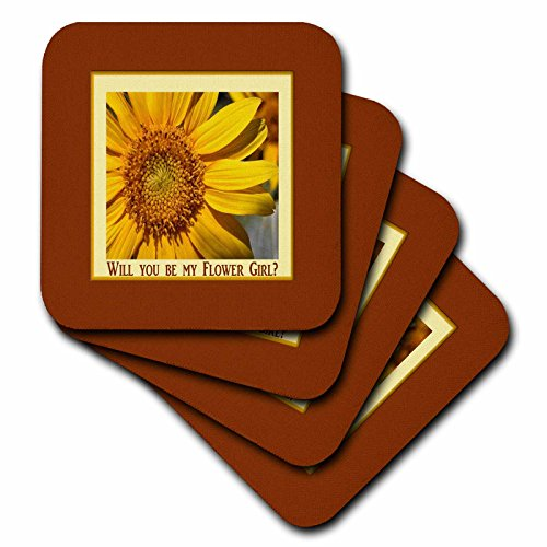 (3dRose Beverly Turner Wedding Bridal Party Design - Flower Girl, Close up of Sunflower, Framed, Yellow, Brown, and Orange - set of 4 Coasters - Soft)