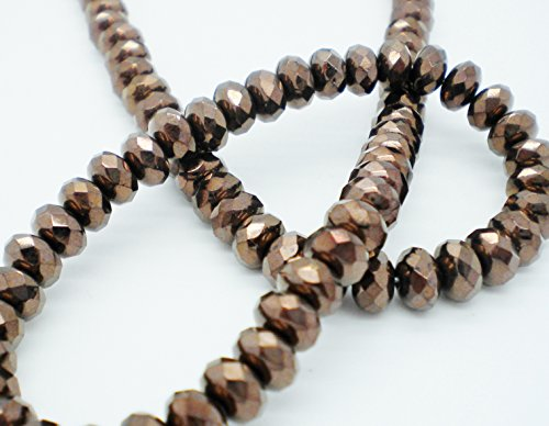 """Czech Fire-polished Glass Opaque Bronze 7x5mm Faceted Rondelle Beads - 16"""" Strand"""