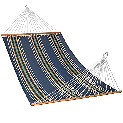 "Lazy Daze Hammocks 55"" Double Size Hammock Swing with Spread Bar and Handcrafted Polyester Rope for Two Person, 450 lbs Capacity, Navy Stripe - The polyester fabric offer superior comfort, features fade, mold, mildew and UV resistance Bed dimensions: 78 x 55 inches (overall length: 141 inches); Support up to 450 pounds Handcrafted polyester ropes add character and authenticity, and thickness of the end cords contribute greatly to the balance and strength of the hammock - patio-furniture, patio, hammocks - 51YkmEBmsOL. SS400  -"