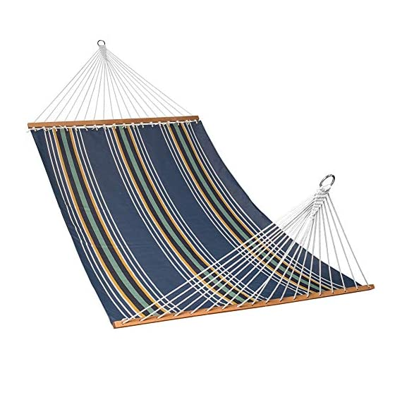 "Lazy Daze Hammocks 55"" Double Size Hammock Swing with Spread Bar and Handcrafted Polyester Rope for Two Person, 450 lbs Capacity, Navy Stripe - The polyester fabric offer superior comfort, features fade, mold, mildew and UV resistance Bed dimensions: 78 x 55 inches (overall length: 141 inches); Support up to 450 pounds Handcrafted polyester ropes add character and authenticity, and thickness of the end cords contribute greatly to the balance and strength of the hammock - patio-furniture, patio, hammocks - 51YkmEBmsOL. SS570  -"