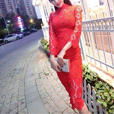 PU&PU Robe Aux femmes Gaine Simple,Couleur Pleine Mao Midi Polyester , red , s