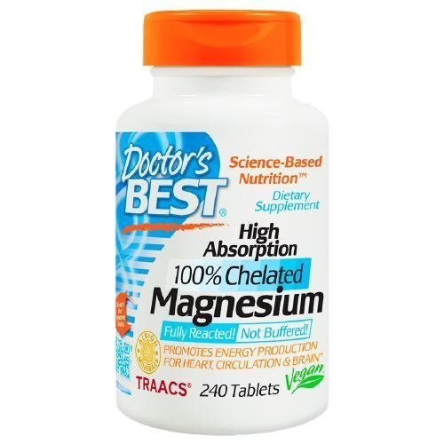 Doctor's Best High Absorption 100% Chelated Magnesium, Tablets 240 ea by Doctor's - High Absorption 240 Magnesium Tablets