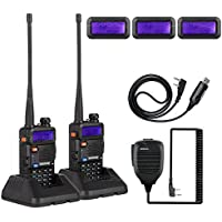 2X NKTECH UV-5R Plus VHF UHF Tri-Power 8W 4W 1W Dual Band 136-174/400-520MHz Two Way Radio Transceiver Walkie Talkie VS BaoFeng + Handheld Speaker Mic + USB Programming Cable