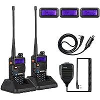 2X NKTECH UV-5R Plus VHF UHF Tri-Power 8W 4W 1W Dual Band 136-174/400-520MHz Two Way Radio Transceiver Walkie Talkie VS BaoFeng + Handheld Speaker Mic + USB Programming Cable