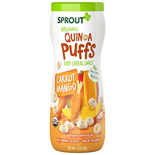 Sprout Organic Baby Food, Sprout Quinoa Puffs Organic Baby Snack, Carrot Mango, 1.5 Ounce Canister (Pack of 1), Baby's First Snack, Quick Dissolve, Gluten Free, Made with Whole Grains, USDA Organic