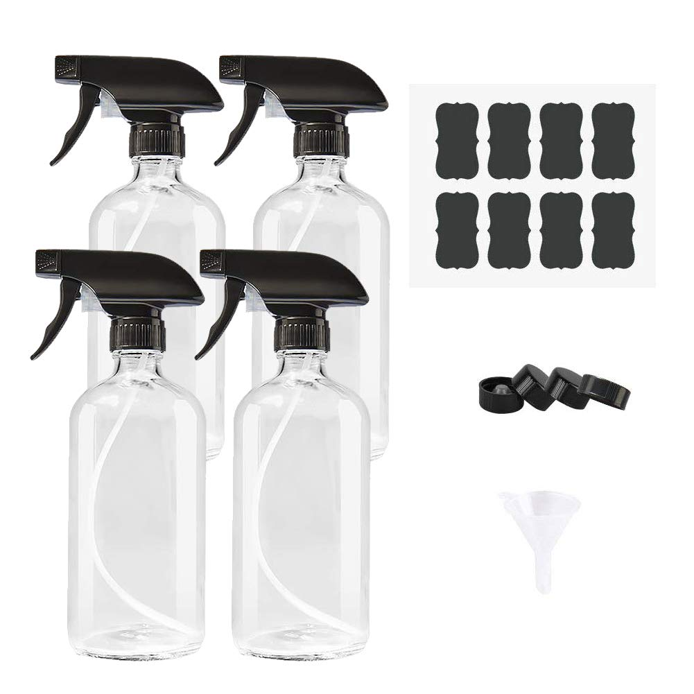 AMYHOM Empty Refillable Clear Glass Spray Bottles of 4 Pack 16 oz for Essential Oil, Aromatherapy, Cleaning Products, Perfume, Alcohol Sterilizer, with 4 Free Sprayers, 4 Caps