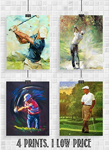 Golf Art- Abstract Watercolor Prints- 4 Print Set- 8 x10's Wall Art Decor-
