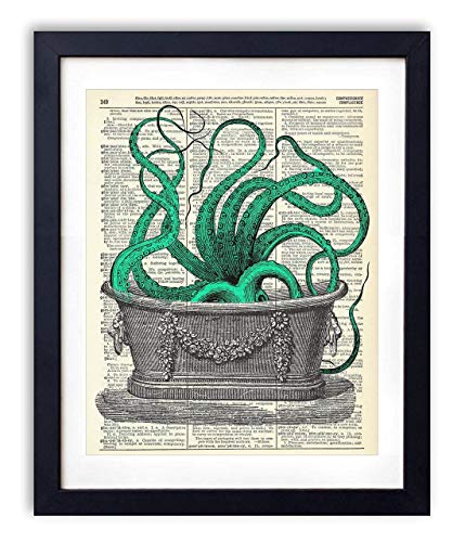 Octopus In The Tub Upcycled Vintage Dictionary Art Print 8x10