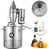 VEVOR 304 Stainless Steel 20L/5.28Gal Water Alcohol Distiller Home Kit Moonshine Wine Making Boiler with Thermometer