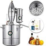 VEVOR 30L 7.9Gal Water Alcohol Distiller 304 Stainless Steel Alcohol Distiller Home Kit Moonshine Wine Making Boiler with Thermometer (30L Distiller)