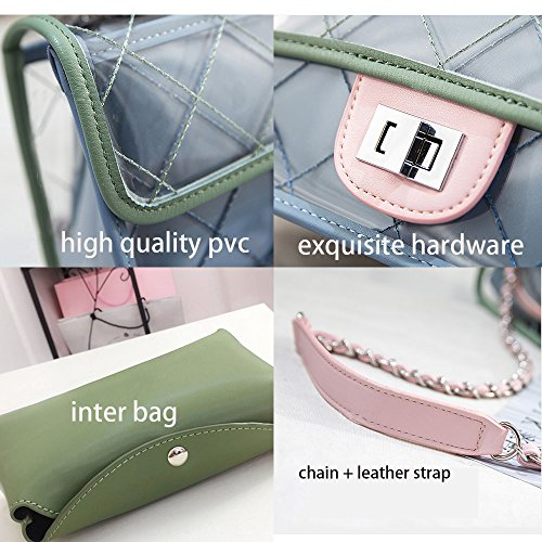 Purse For Shoulder Handbag Women Clear Chain Bag Pvc White Crossbody Set Olyphy Waterproof Transparent 45qIw4