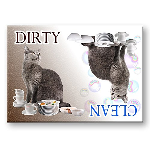 Russian Blue Cat Clean / Dirty Dishwasher Magnet