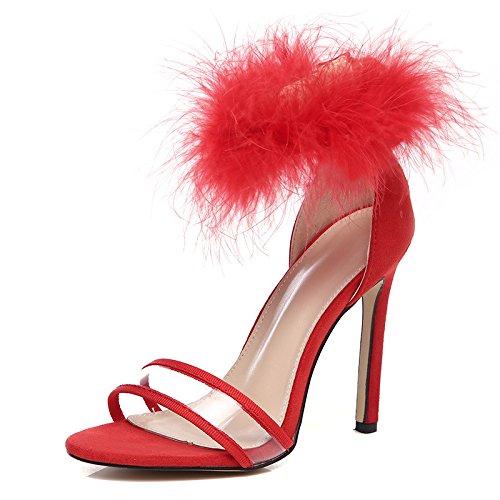 ZHUDJ Sandalias De Verano Sandalias Zapatillas De Felpa Felpa Peep Toe Heels con El Club,Gules,38 Thirty-eight|gules