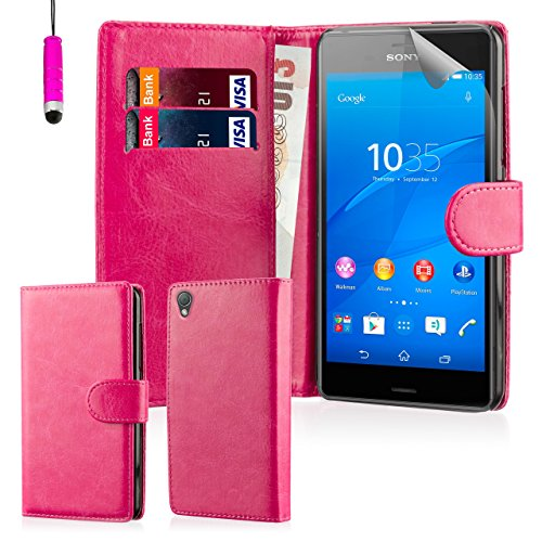 32nd Book wallet PU leather case cover for Sony Xperia Z3 mobile phone - Hot Pink