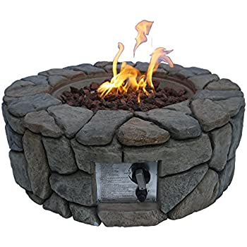 """Peaktop Outdoor Stone Gas Propane Fire Pit with Cover, 28"""" x 9"""""""