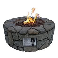 Fire Pits Peaktop HF09501AA Round 40,000 BTU Propane Gas Fire Pit Stone Look for Outdoor Patio Garden Backyard Decking with PVC… firepits