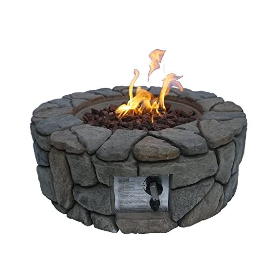 """Peaktop HF09501AA Round 40,000 BTU Propane Gas Fire Pit Stone Look for Outdoor Patio Garden Backyard Decking with PVC Cover, Lava Rock, 28"""" x 28"""", Gray - STYLISH DESIGN: This stylish contemporary fire pit is a wonderful addition to any patio and is sure to provide you and all of your guests with warmth in a natural space. INCLUDES: 6. 6 lbs Lava Rock and PVC Cover Adjustable flames are the perfect addition to light up the garden. - patio, outdoor-decor, fire-pits-outdoor-fireplaces - 51Ykog7HEuL. SS570  -"""