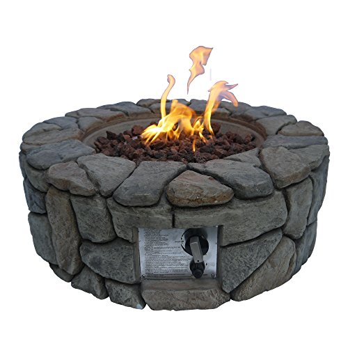 Peaktop Outdoor Stone Gas Propane Fire Pit with Cover, 28″ x 9″