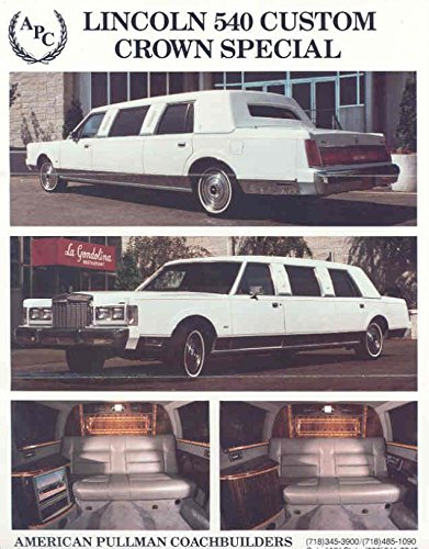 1987 APC Lincoln Series 540 Crown Special Limo Brochure Apc Series