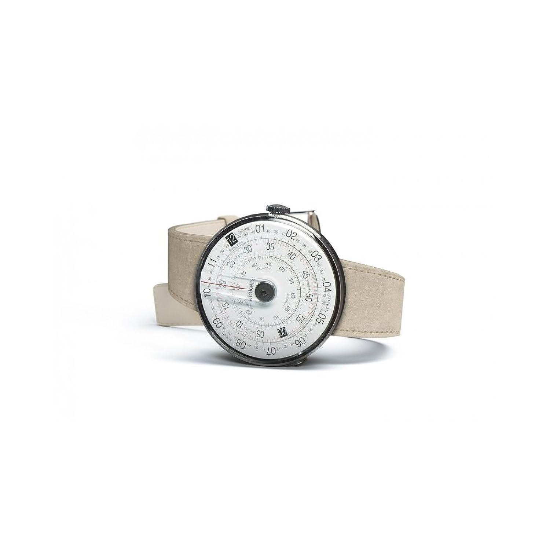 Uhren Klokers Swiss Made KLOK-1 Steel Case Black Point Beige Leather Strap K01-CPN-BG