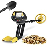 INTEY Metal Detector for Adults with Pinpoint Function Updated Version Treasure Hunter Adjustable(30In-40In) Gold Detector Waterproof Search Plus Folding Shovel/Rucksack